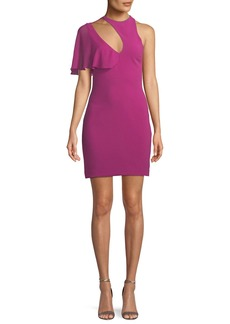 Cushnie Cutout-Neck Fitted Stretch-Cady Cocktail Dress w/ Flutter Detail