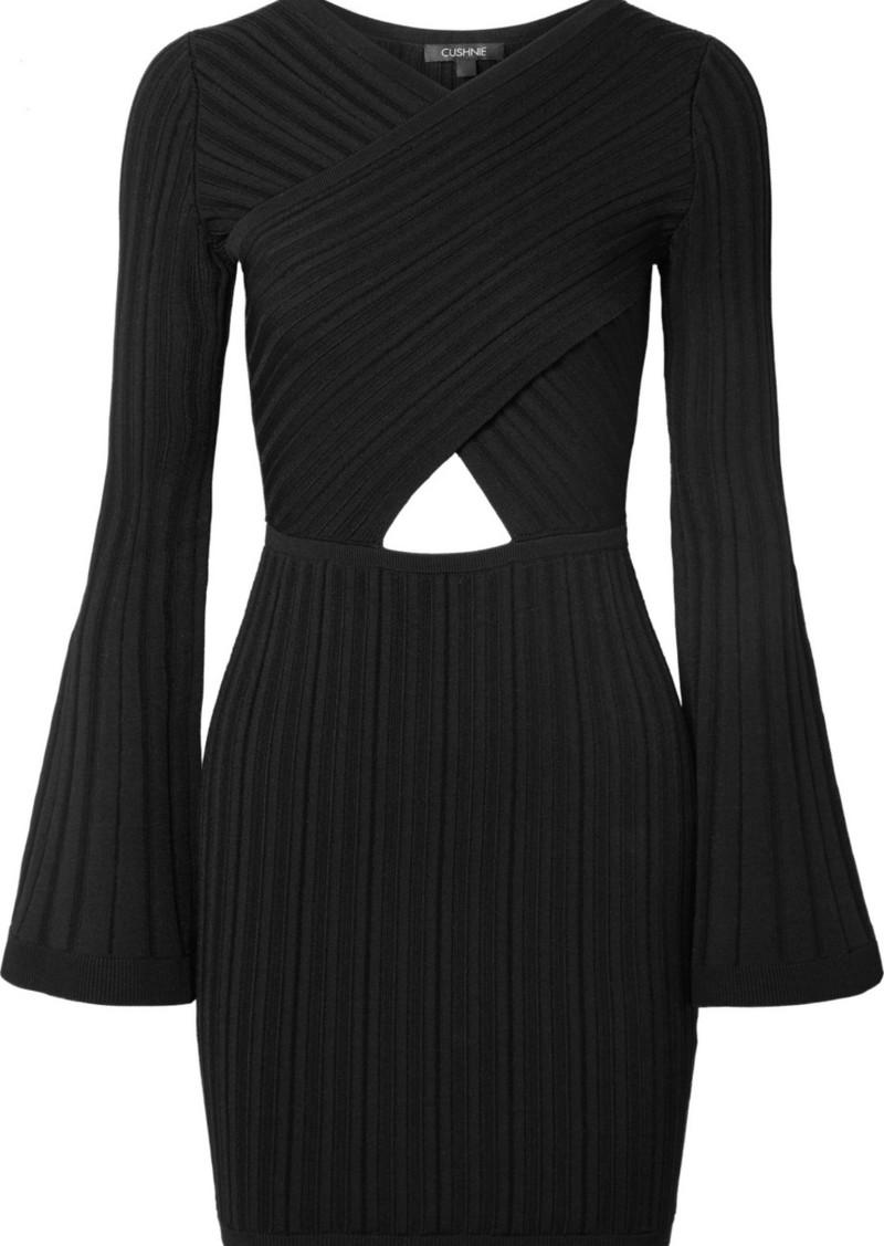 Cushnie Cutout Ribbed-knit Mini Dress