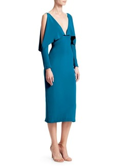 Cushnie Et Ochs Deep-V Drape Detail Midi Dress