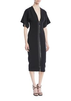 Cushnie Et Ochs Deep-V Two-Way Zip Kimono-Sleeve Midi Dress