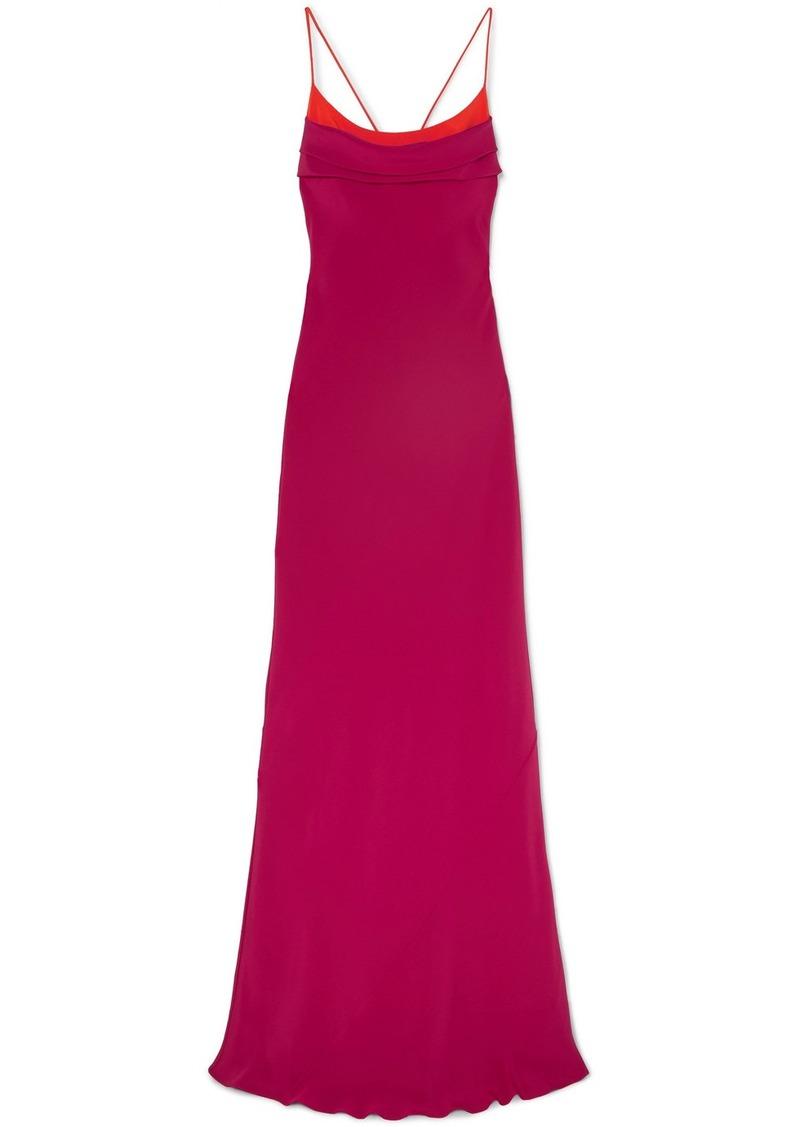 Cushnie Draped Open-back Silk-crepe Gown