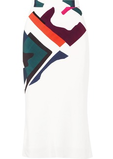 Cushnie Et Ochs Expressionist Lia Printed Silk-satin Midi Skirt
