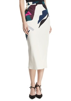 Cushnie Et Ochs Expressionist-Print Bias-Cut Silk Crepe Midi Straight Skirt