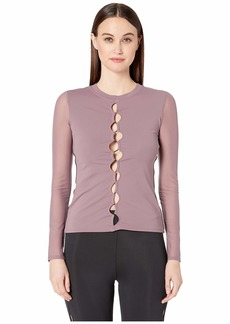 Cushnie Fitted Long Sleeved Top with Mesh Sleeves
