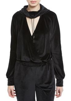 Cushnie Funnel-Neck Velour Deep V Pullover Top