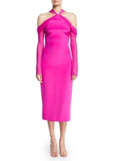 Cushnie Et Ochs Halter-Neck Pencil Tea-Length Cocktail Dress w/ Chiffon Sleeves