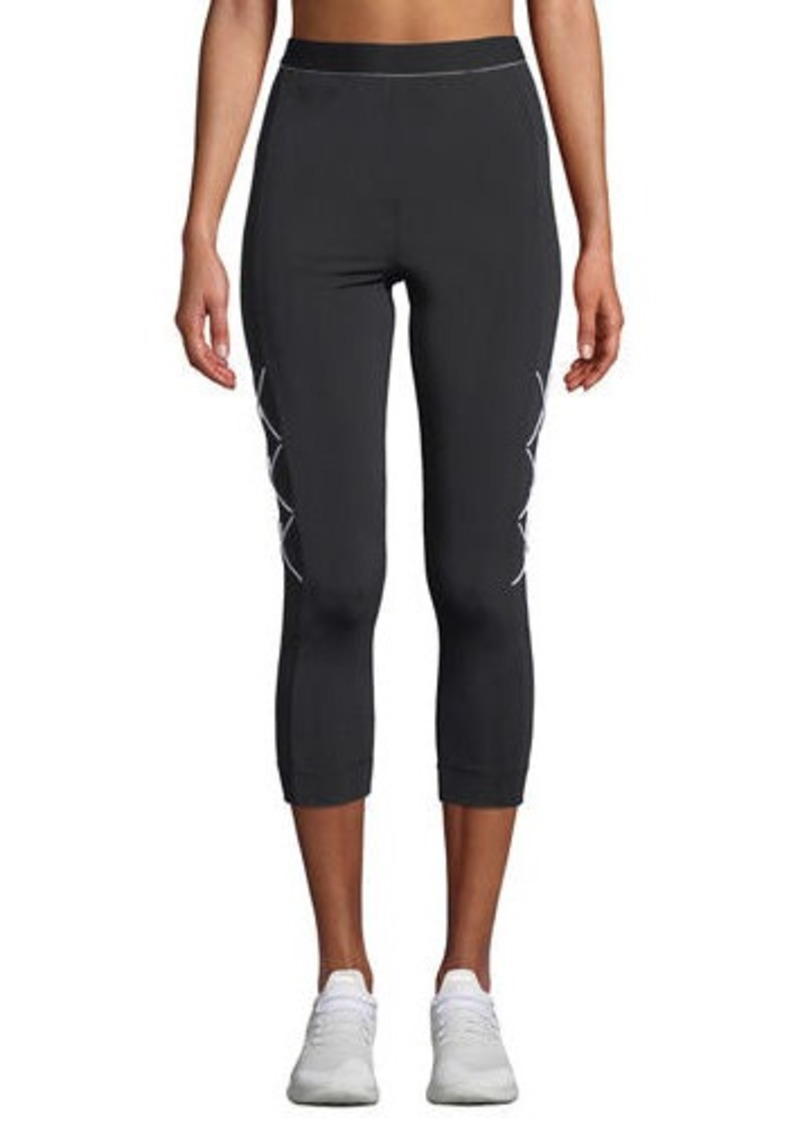 Cushnie High-Waist Cropped Leggings with Cording