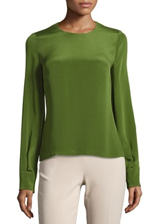 Jewel-Neck Long-Sleeve Blouse