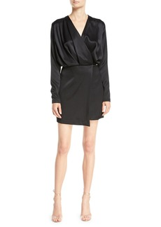 Cushnie Et Ochs Long-Sleeve Blouson-Top Double-Charmeuse Mini Cocktail Dress