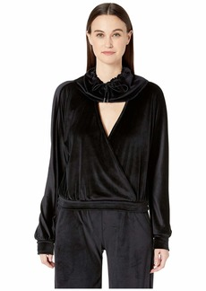 Cushnie Long Sleeved Deep V Top with Funnel Neck