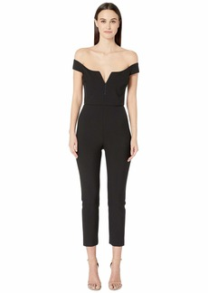 Cushnie Off the Shoulder Fitted Jumpsuit with Topstitching