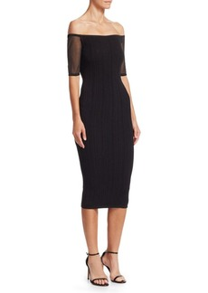 Cushnie Et Ochs Off-The-Shoulder Knit Midi Dress