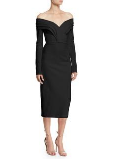 Cushnie Et Ochs Off-the-Shoulder Long-Sleeve Pencil Cocktail Dress w/ Curved Panels