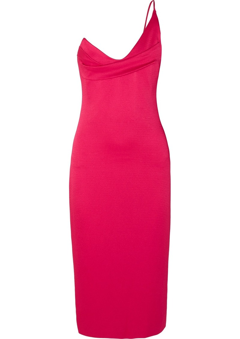 Cushnie One-shoulder Draped Hammered-satin Dress