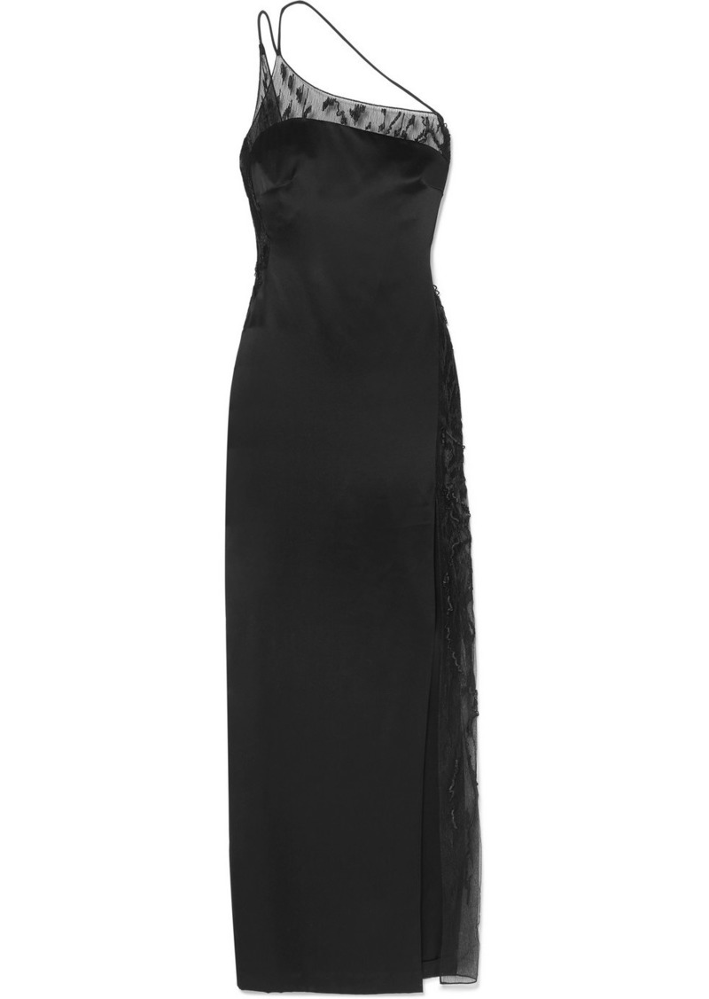 Cushnie One-shoulder Embellished Lace-trimmed Charmeuse Gown