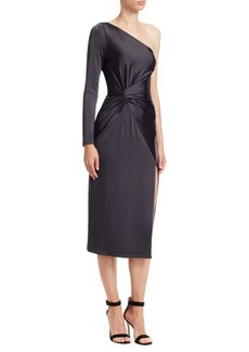 Cushnie Et Ochs One-Shoulder Long-Sleeve Sheath Dress