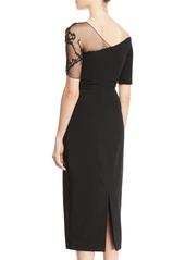 Cushnie Et Ochs One-Shoulder Short-Sleeve Pencil Cocktail Dress w/ Lace Detail