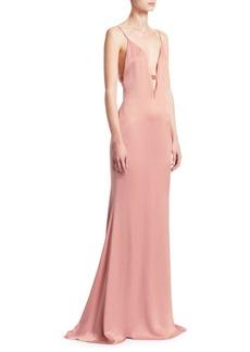 Cushnie Et Ochs Plunging V-Neck Satin Gown