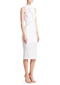 Cushnie Et Ochs Pom-Pom Trim Knit Sheath Dress