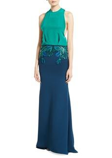 Cushnie Raffia-Embroidered Sleeveless Blouson Gown