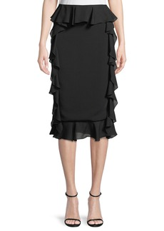 Cushnie Et Ochs Romina Pencil Skirt with Georgette Ruffle Sides