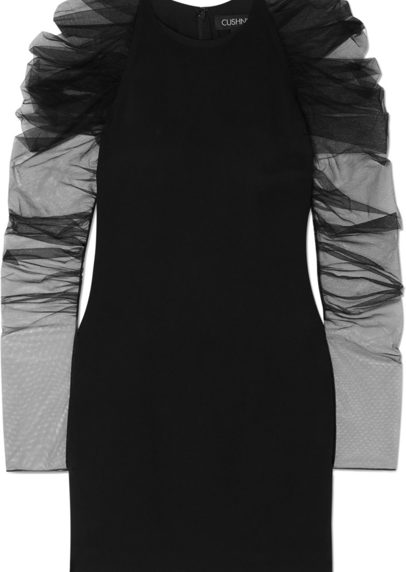 Cushnie Ruched Tulle And Cady Mini Dress