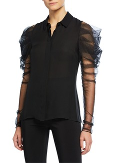 Cushnie Ruched Tulle Sleeve Button-Front Shirt