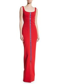 Cushnie Et Ochs Scoop-Neck Sleeveless 2-Way Contrast Zipper Fitted Column Evening Gown