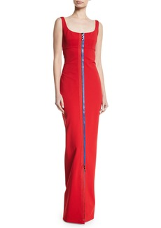 Cushnie Et Ochs Scoop-Neck Sleeveless 2-Way Contrast Zipper Fitted Column Evening Gown