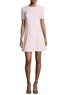 Short-Sleeve Cady Lace-Up Dress