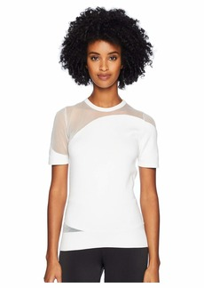 Cushnie Short Sleeve Crew Neck Knit Top w/ Sheer Panels