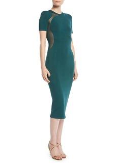 Cushnie Et Ochs Short-Sleeve Crewneck Fitted Knit Pencil Dress w/ Sheer Insets