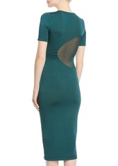 Cushnie Et Ochs Short-Sleeve Crewneck Fitted Knit Pencil Dress w/ Sheer Insets