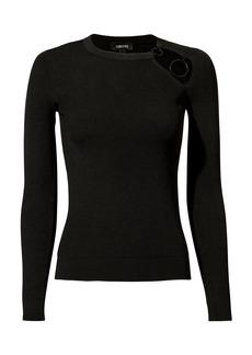 Cushnie Et Ochs Sienna Ring-Detailed Black Knit Top
