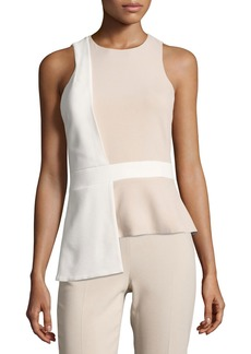 Cushnie Et Ochs Sleeveless Bicolor Top with Overlapping Panel