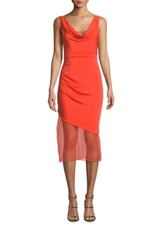 Cushnie Sleeveless Cowl-Neck Matte Jersey Body-Con Dress w/ Organza