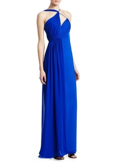 Cushnie Et Ochs Sleeveless Draped Double Georgette Side Slit Silk Column Gown