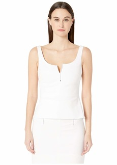 Cushnie Sleeveless Fitted Peplum Top with Topstitching Detail