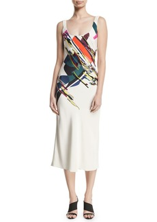Cushnie Et Ochs Sleeveless Scoop-Neck Expressionist-Print Beaded Bias-Cut Cami Slip Dress