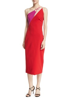 Cushnie Et Ochs Sleeveless Two-Tone Sheath Midi Dress w/ Twisted Hardware
