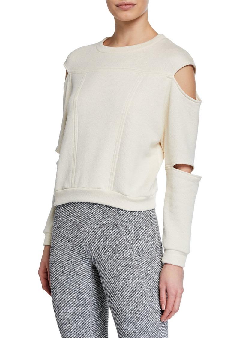 Cushnie Slit-Sleeve Crewneck Sweatshirt
