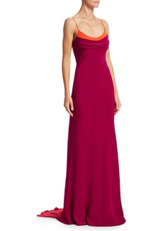 Cushnie Et Ochs Two-Tone Colorblock Train Column Gown
