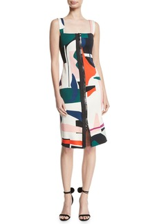 Cushnie Et Ochs Zip-Front Sleeveless Expressionist-Print Sheath Dress