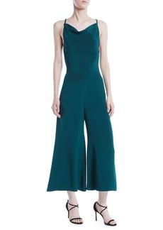 Cushnie Halter-Neck Sleeveless Drape-Back Wide-Leg Silk Jumpsuit