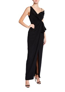 Cushnie Off-the-Shoulder Silk Draped Gown