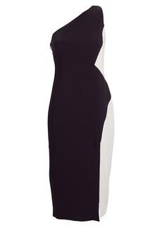 Cushnie One-Shoulder Colorblock Dress