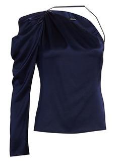 Cushnie One-Shoulder Draped Silk Blouse
