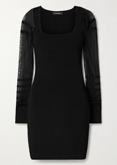Cushnie Paneled Ribbed-knit Mini Dress