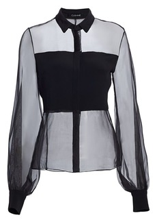 Cushnie Puff-Sleeve Sheer Silk Blouse