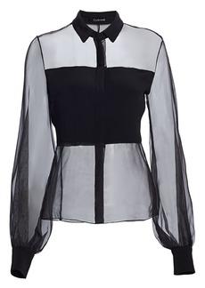 Cushnie Puff-Sleeve Sheer Silk Blouse